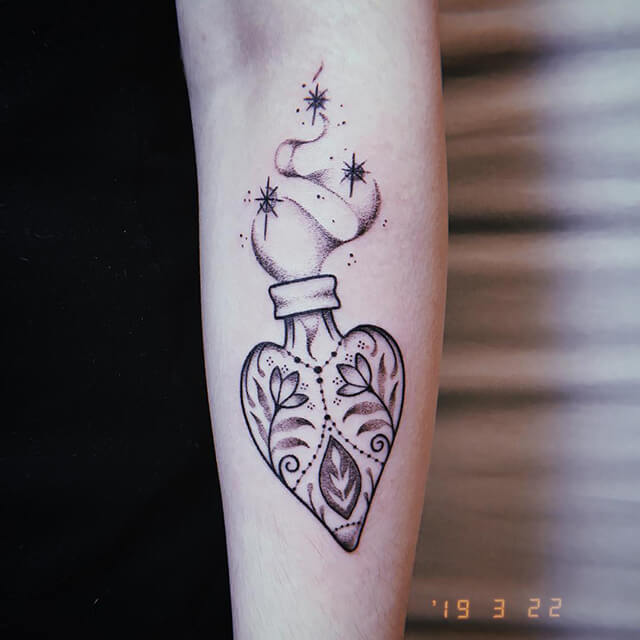 tatouage de belladonna hurricane pot de fleurs